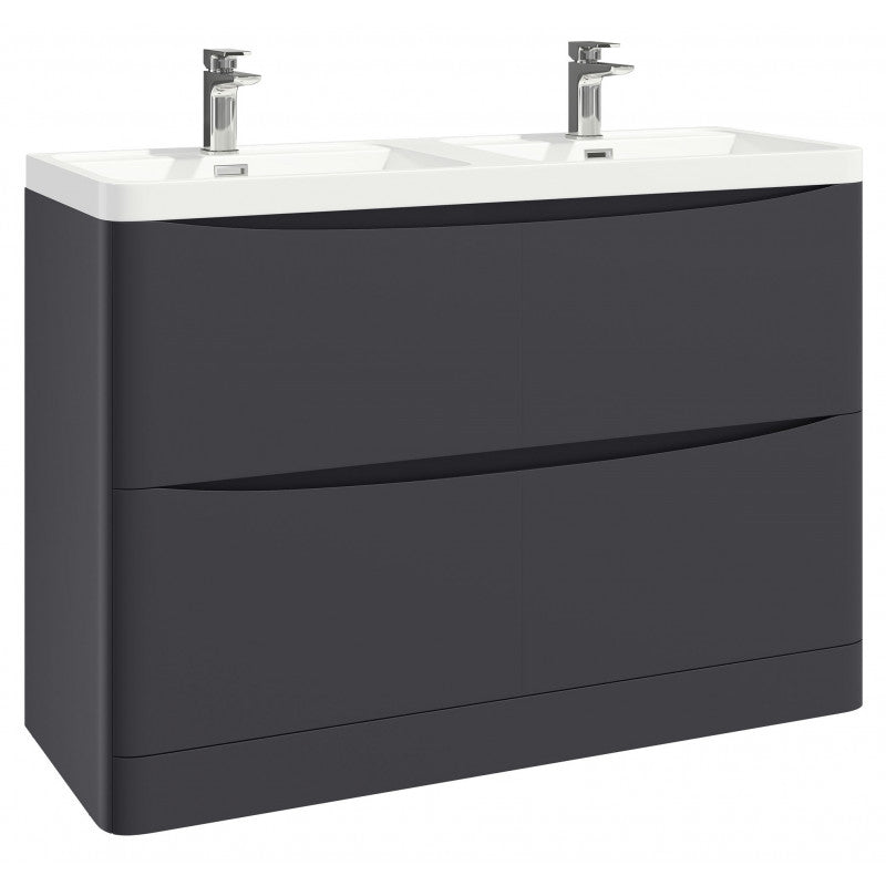 Bella 1200mm Vanity Unit And Double Basin Floor Standing Matt Grey