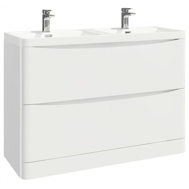 Bella 1200mm Vanity Unit And Double Basin Floor Standing Gloss White
