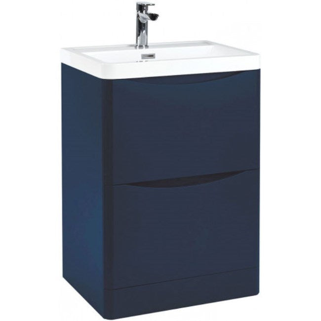 Bella 600mm Vanity Unit And Basin Floor Standing Indigo Blue