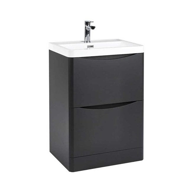 Bella 600mm Vanity Unit And Basin Floor Standing Graphite Grey