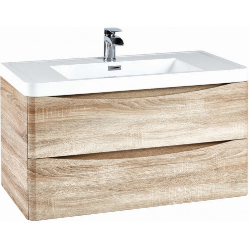 Bella 900mm Wall Hung Vanity Unit And Basin Bardolino Driftwood Oak