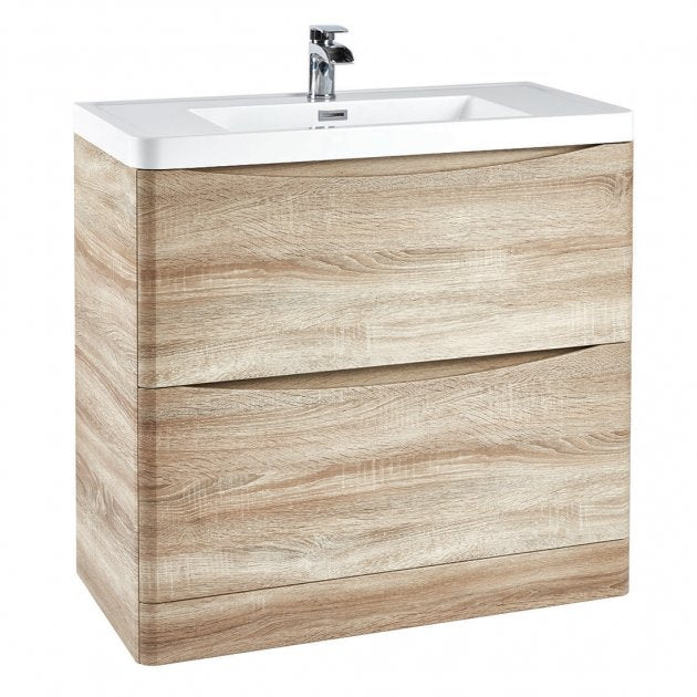 Bella 900mm Vanity Unit And Basin Floor Standing Bardolino Driftwood Oak