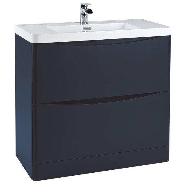 Bella 900mm Vanity Unit And Basin Floor Standing Indigo Blue