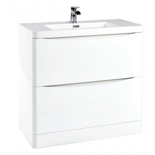 Bella 900mm Vanity Unit And Basin Floor Standing White Gloss