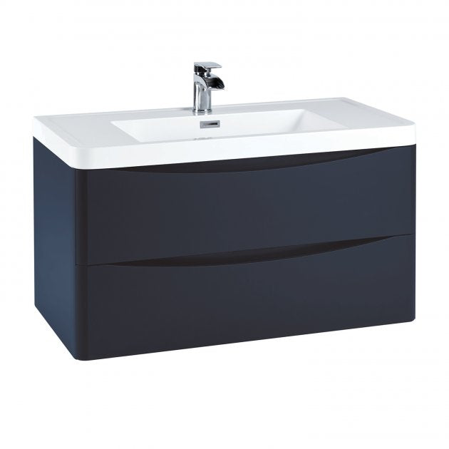 Bella 900mm Wall Hung Vanity Unit And Basin Indigo Blue