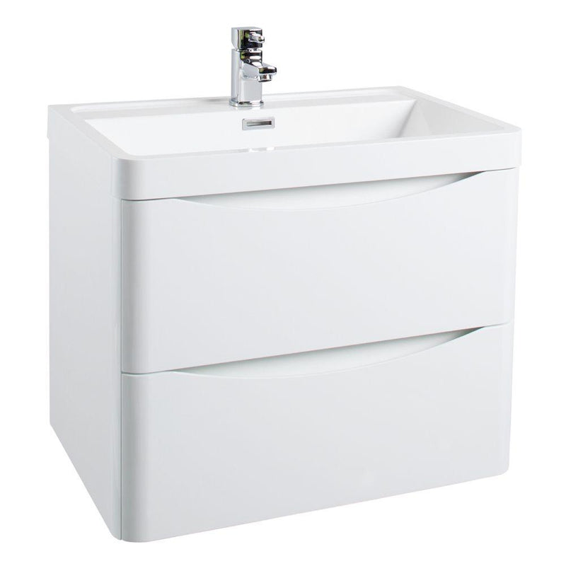 Bella 500mm Wall Hung Vanity Unit And Basin Gloss White