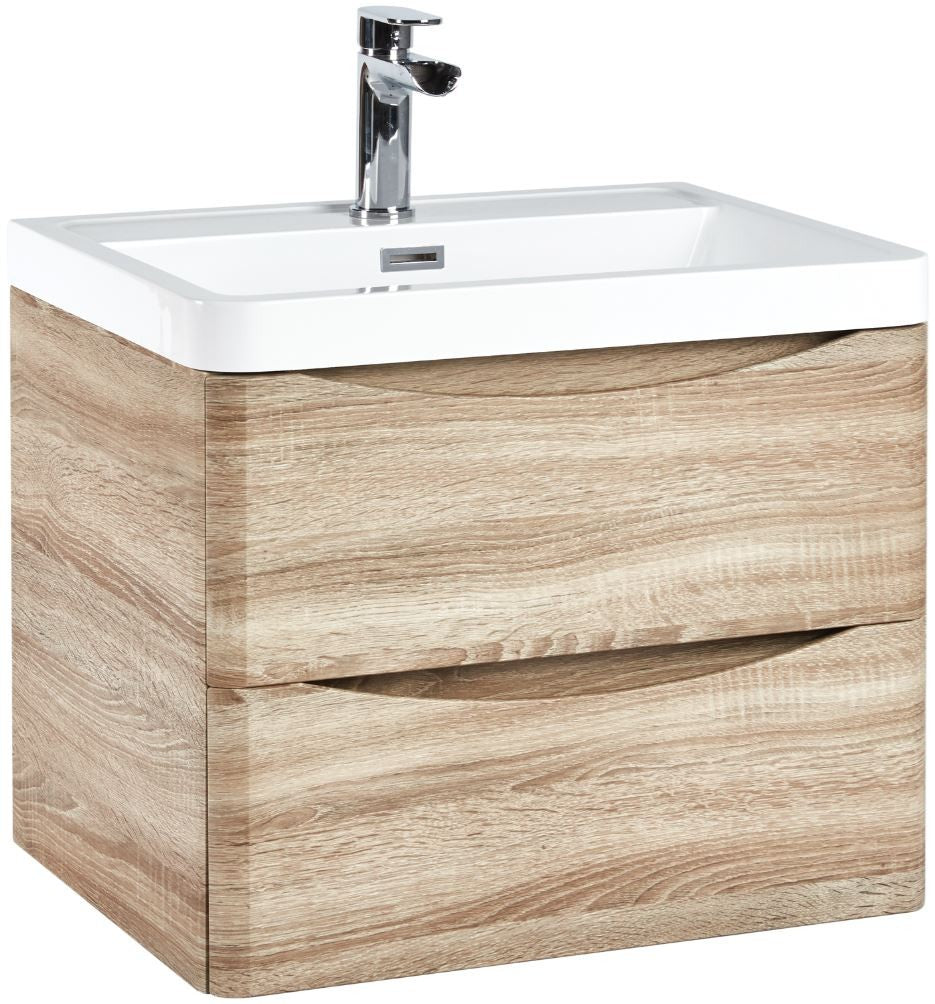Bella 600 Wall Hung Vanity Unit And Basin Bardolino Driftwood Oak - ex display