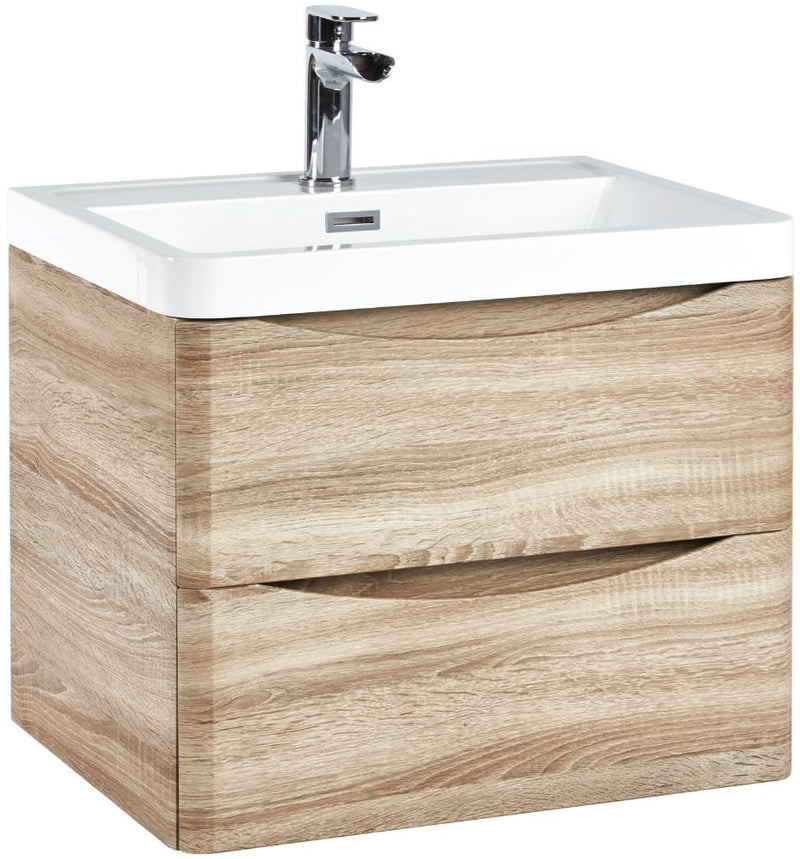 Bella 600 Wall Hung Vanity Unit And Basin Bardolino Driftwood Oak