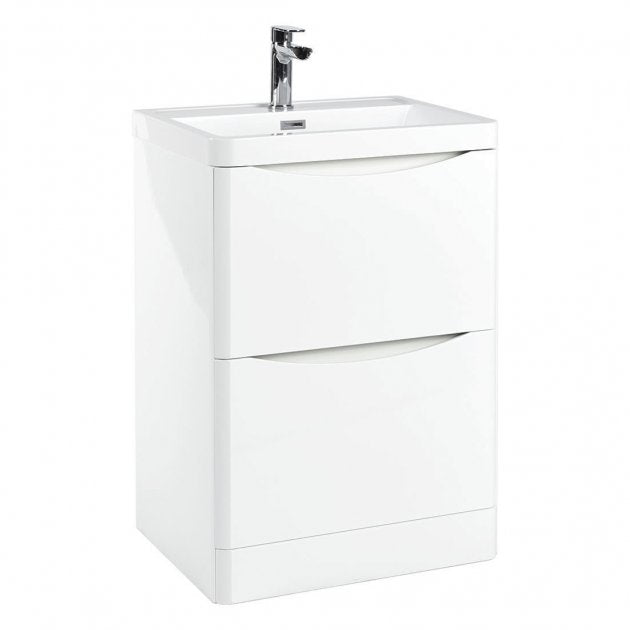 Bella 600mm Vanity Unit And Basin Floor Standing Gloss White