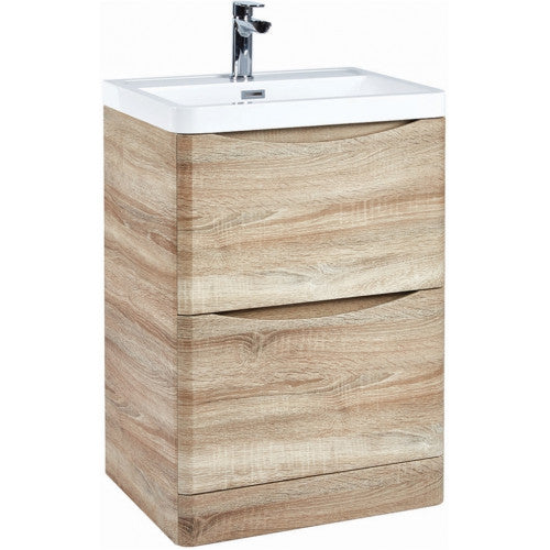 Bella 500mm Vanity Unit And Basin Floor Standing Bardolino Driftwood Oak