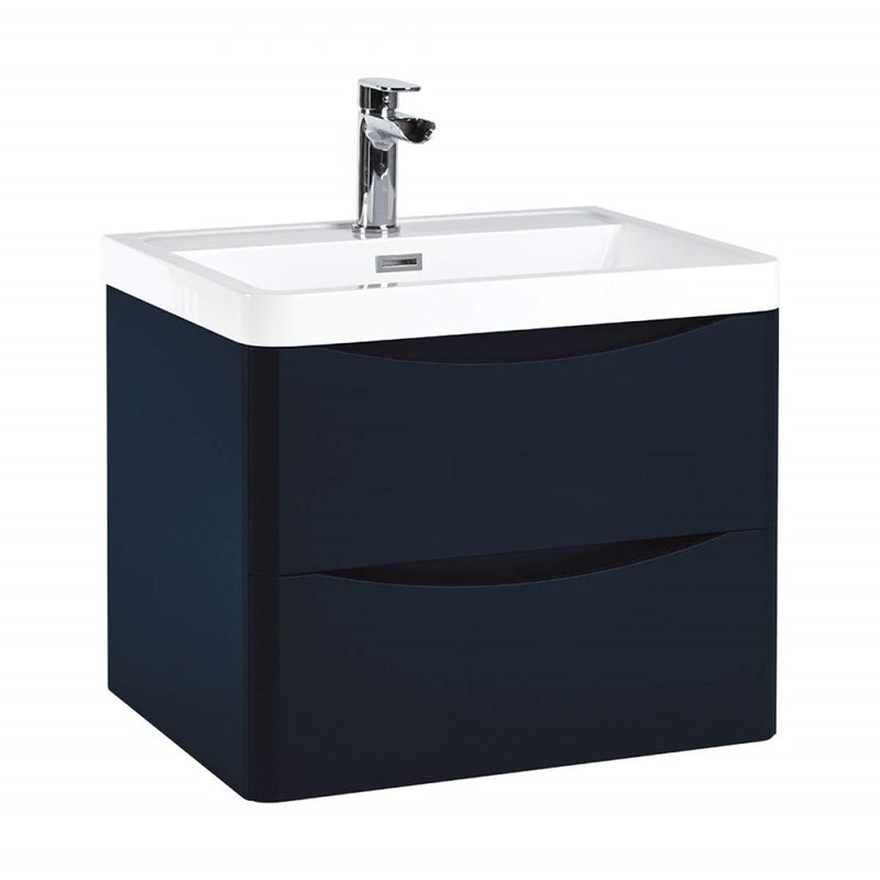 Bella 500mm Wall Hung Vanity Unit And Basin Indigo Blue