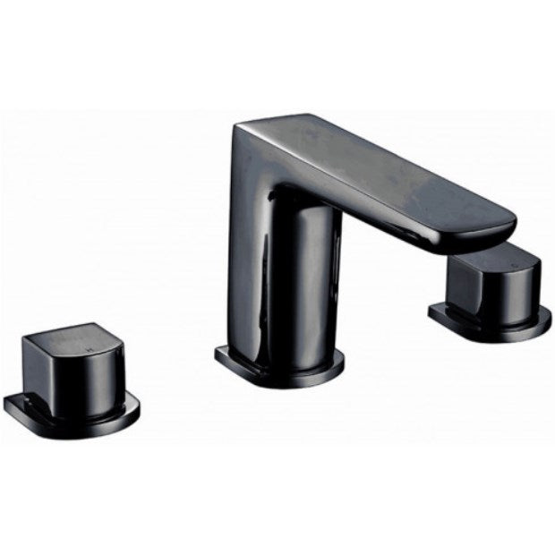 Muro 3 Hole Basin Mixer Black