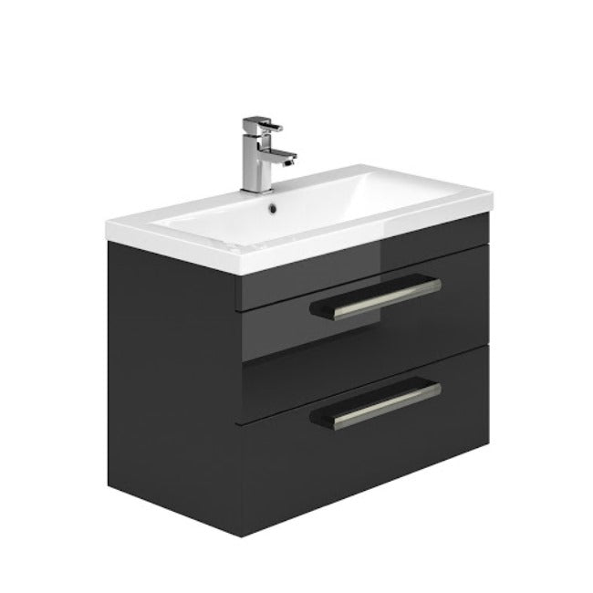 Gloss Black Metallic 600mm Wall Hung Vanity Unit and Ceramic Basin