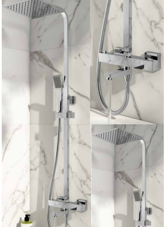 Block Rigid Riser Shower With Bath Filler