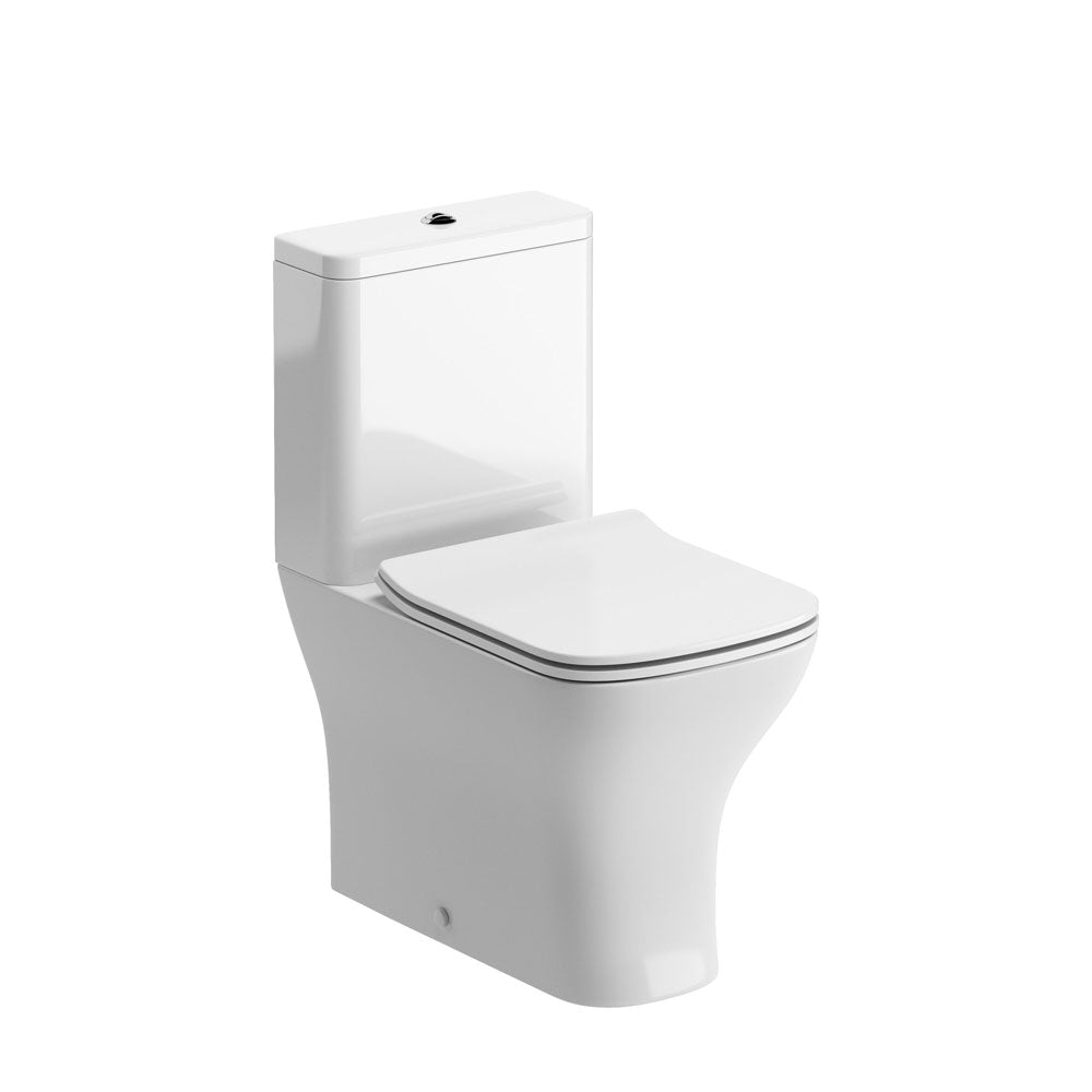 Cedarwood Flush to Wall Close Coupled Toilet with Soft Close Seat