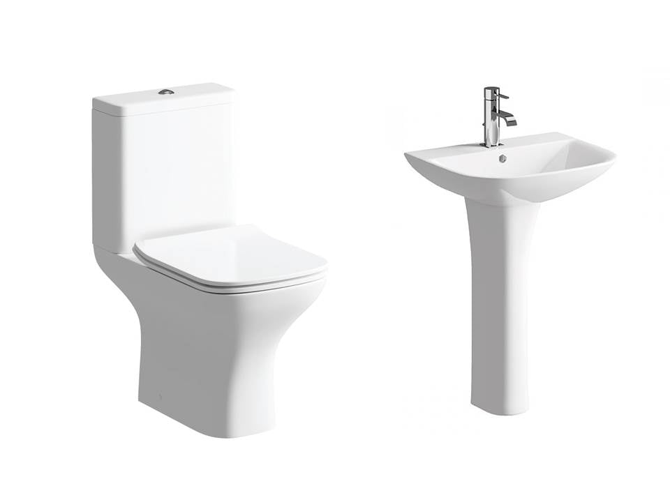 Cedarwood Suite, Close Coupled Toilet, Basin and Full Pedestal