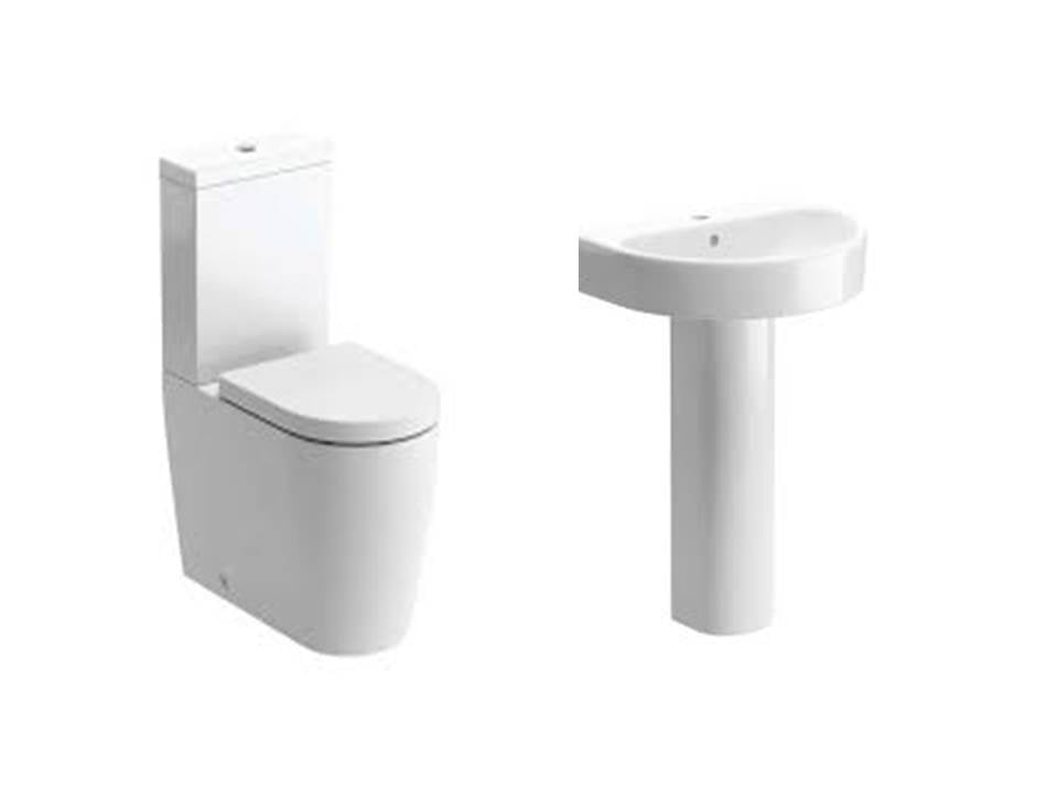 Cilantro Suite, Close Coupled Flush To Wall Toilet, Basin and Full Pedestal