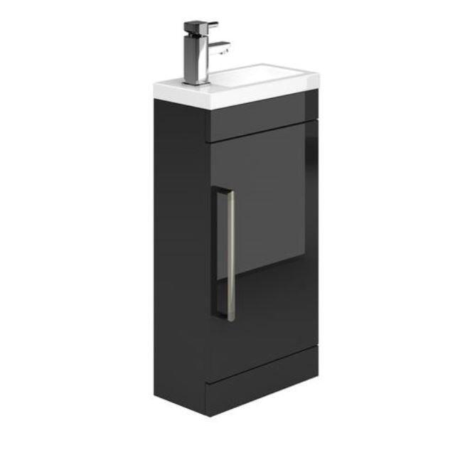 Gloss Black Metallic Cloakroom Vanity Unit and Ceramic Basin