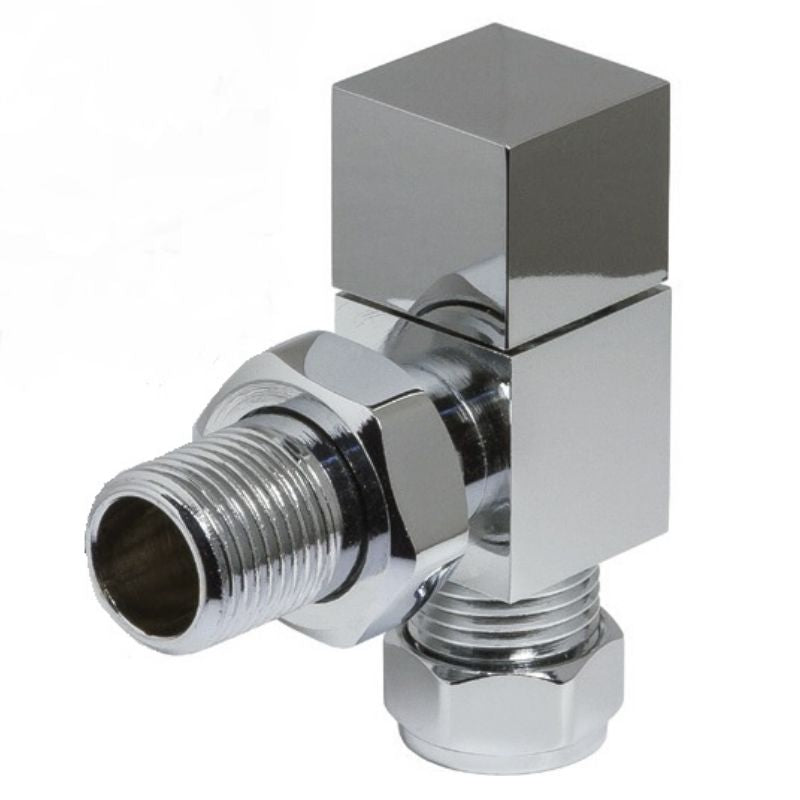 Cube Modern Angled Radiator Valves Chrome (Pair)