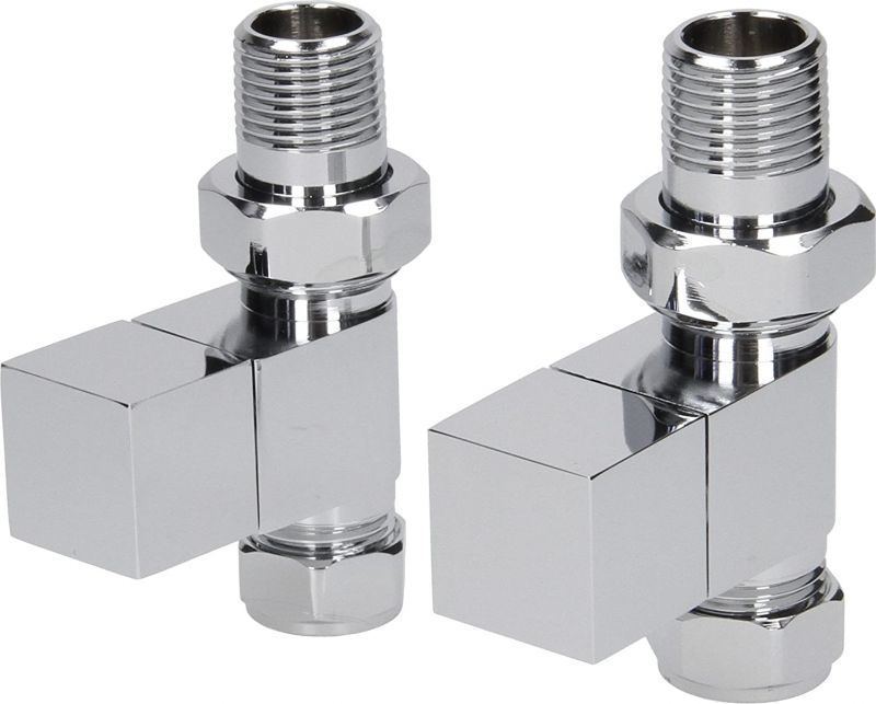 Cube Modern Straight Radiator Valves Chrome (Pair)