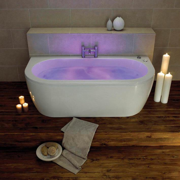 Decadence 1700 x 800mm Double End Back to Wall Bath With One Piece Curved Panel