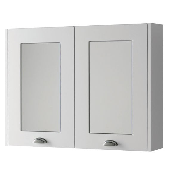FUR505AS Kartell Astley 800mm Mirror Cabinet - Matt White