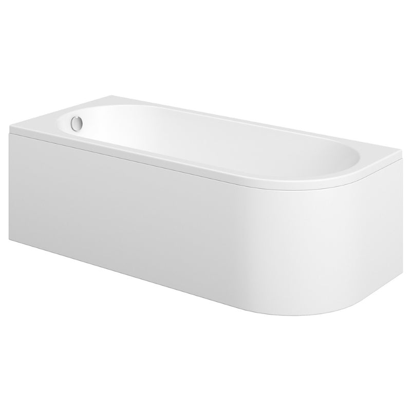 Essence 1500 x 745mm Back to Wall Bath With One Piece Curved Panel
