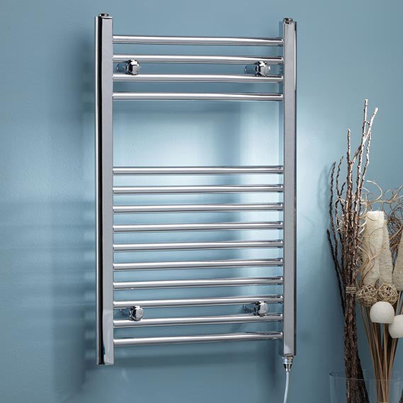 Electric Chrome Towel Rail 500 x 800mm Straight/Curved
