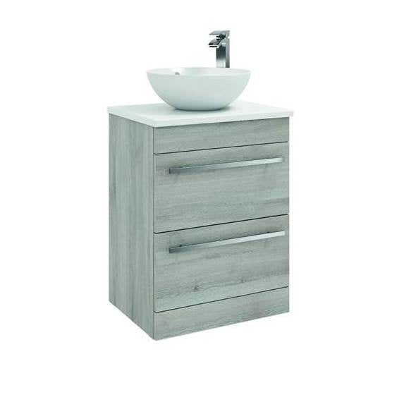 FUR011PU/433/435 Kartell K-Vit Purity 600mm Floor Standing 2 Drawer Unit with Ceramic Worktop & Sit On Bowl - Grey Ash