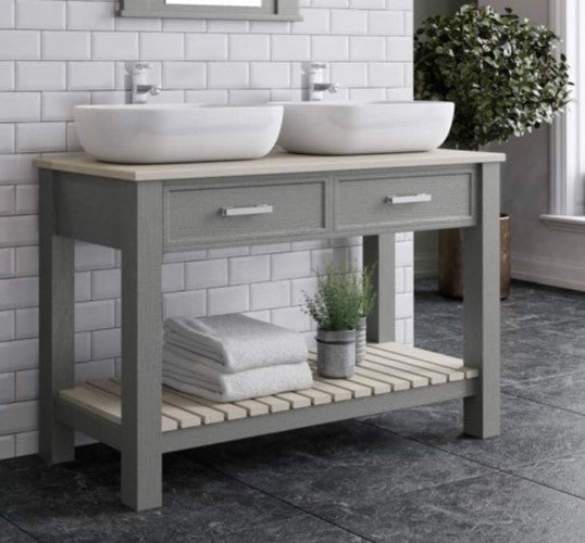 Gloucester 1220mm Freestanding Double Basin Unit Dust Grey
