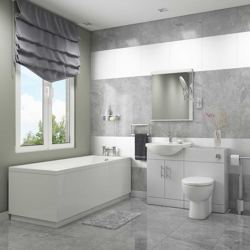Complete Bathroom Suite with Vanity Units, Taps and Wastes. Choice of Bath Sizes.