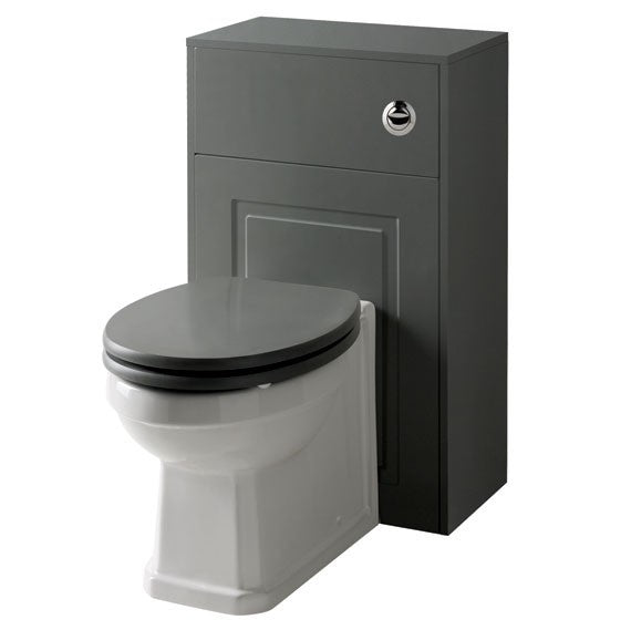 Kartell Astley 500mm WC Unit with BTW WC Pan and Soft Close Seat - Matt Grey