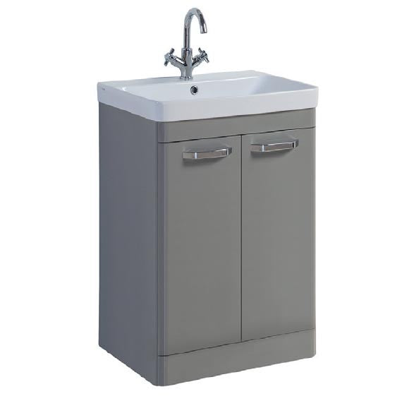 FUR291OP-FUR148ME Kartell Options 500mm Floor Standing 2 Door Unit & Ceramic Basin - Basalt Grey