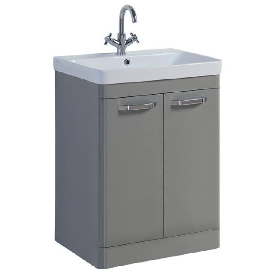 FUR293OP-FUR149ME Kartell Options 600mm Floor Standing 2 Door Unit & Ceramic Basin - Basalt Grey