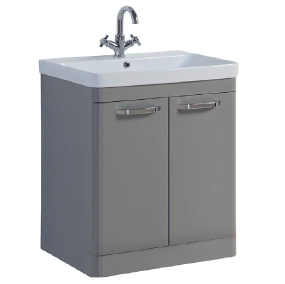 FUR295OP-FUR150ME Kartell Options 800mm Floor Standing 2 Door Unit & Ceramic Basin - Basalt Grey