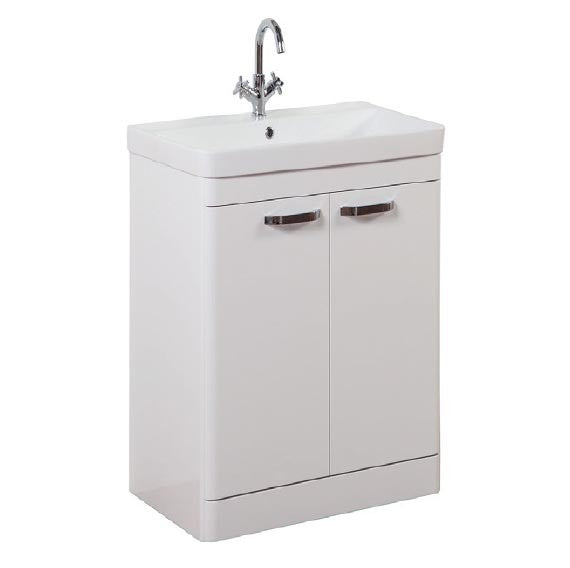 FUR290OP-FUR148ME Kartell Options 500mm Floor Standing 2 Door Unit & Ceramic Basin - White