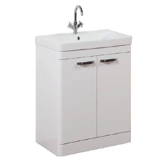 FUR292OP-FUR149ME Kartell Options 600mm Floor Standing 2 Door Unit & Ceramic Basin - White