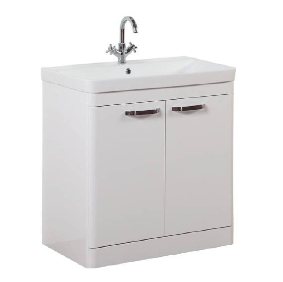 FUR294OP-FUR150ME Kartell Options 800mm Floor Standing 2 Door Unit & Ceramic Basin - White