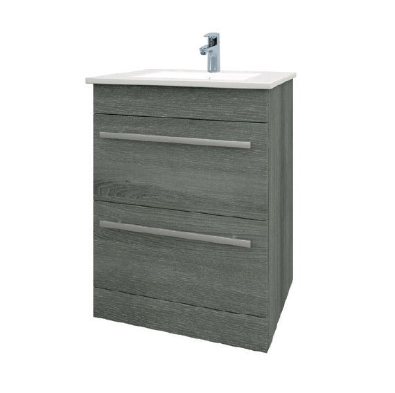 Purity 600mm Floor Standing 2 Drawer Unit and Ceramic Basin - Grey Ash