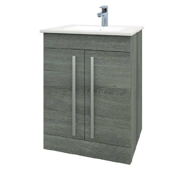 Purity 600mm Floor Standing 2 Door Unit & Ceramic Basin - Grey Ash