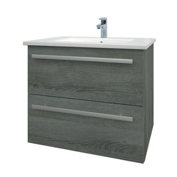 Purity 600mm Wall Mounted 2 Drawer Unit with Ceramic Basin - Grey Ash