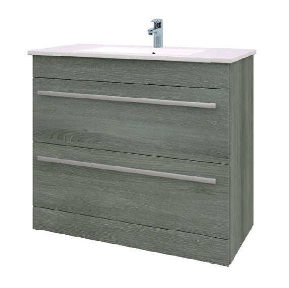 Purity 900mm Floor Standing 2 Drawer Unit and Ceramic Basin - Grey Ash
