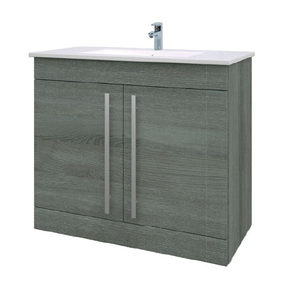 Purity 900mm Floor Standing 2 Door Unit & Ceramic Basin - Grey Ash