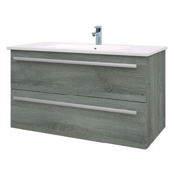 Purity 900mm Wall Mounted 2 Drawer Unit with Ceramic Basin - Grey Ash
