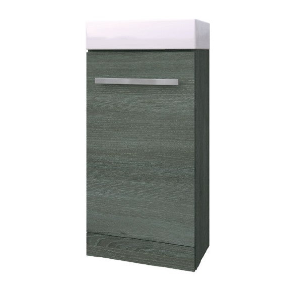 Kartell K-Vit Purity Floor Standing Cloakroom Unit with Ceramic Basin - Grey Ash