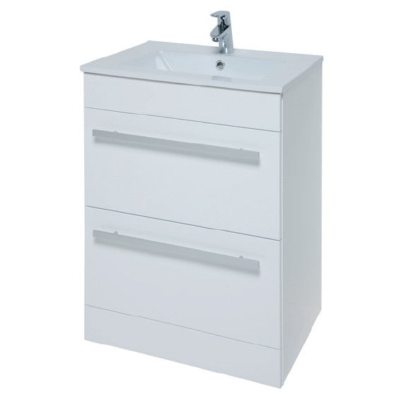 Kartell Purity 600mm Floor Standing 2 Drawer Unit and Ceramic Basin - White
