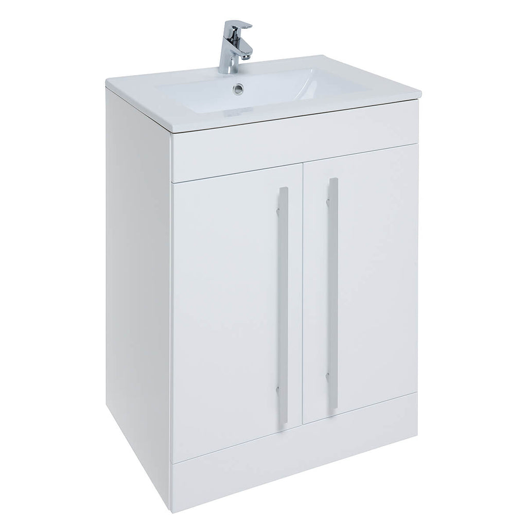 Kartell K-Vit Purity 600mm Floor Standing 2 Door Unit & Ceramic Basin - White
