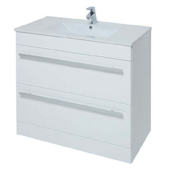 Kartell Purity 900mm Floor Standing 2 Drawer Unit and Ceramic Basin - White
