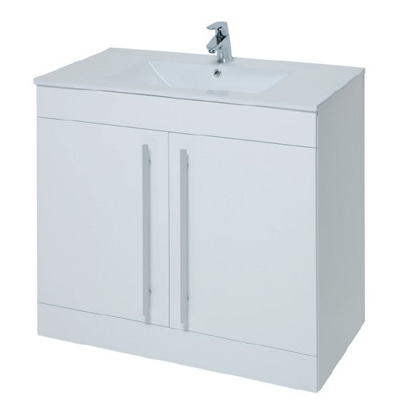 Kartell Purity 900mm Floor Standing 2 Door Unit & Ceramic Basin - White