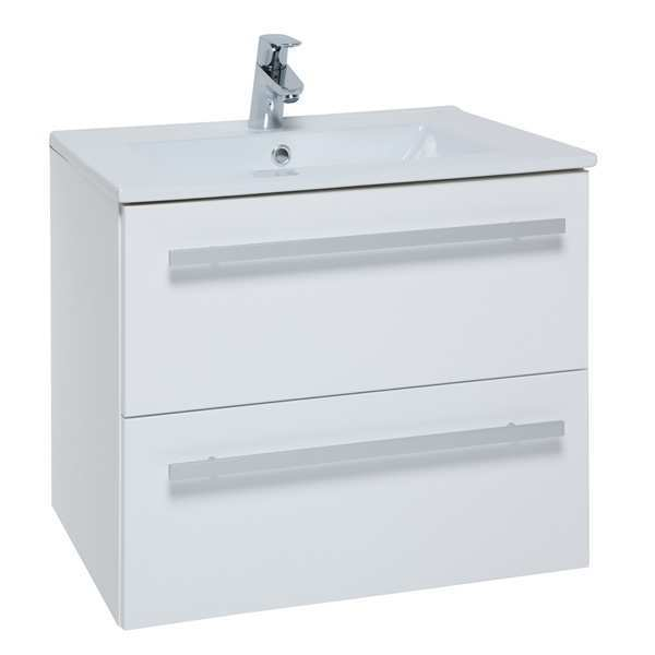 Kartell K-Vit Purity 600mm Wall Mounted 2 Drawer Unit with Ceramic Basin - White